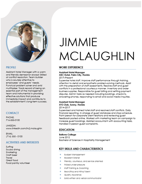 Hospitality management resume