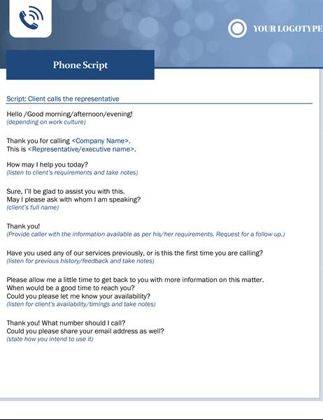 Phone script small business