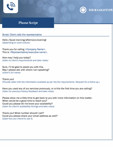 Phone script small business