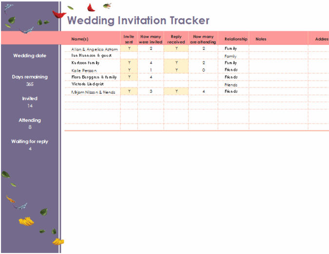 Floral wedding invitation tracker