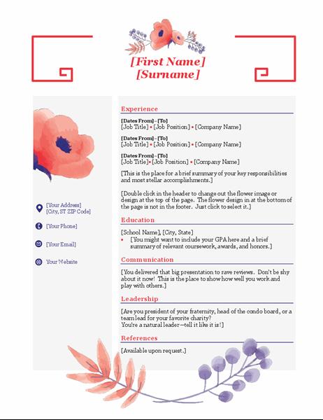 Pink floral resume