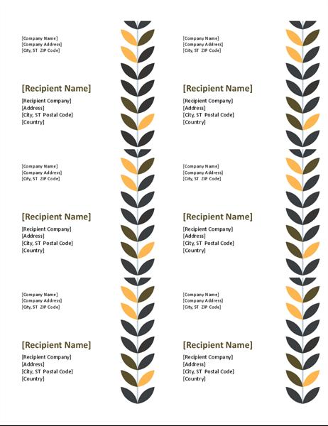 Vine labels (6 per page)