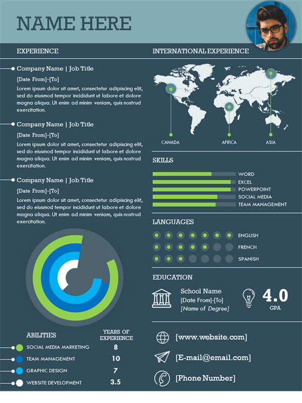 International infographic resume