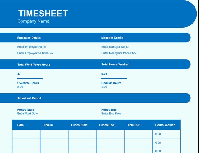 Blue timesheet