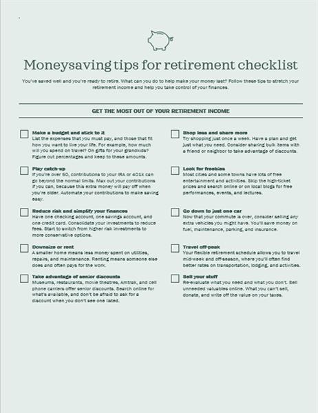 Money saving tips for retirement checklist