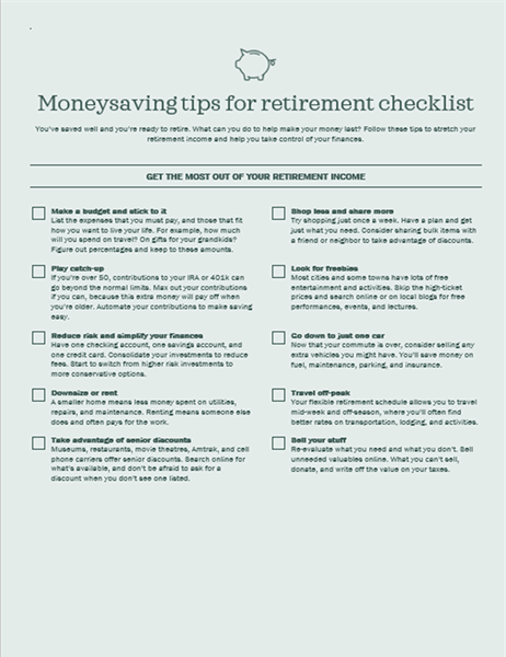 Money saving tips for retirement checklist