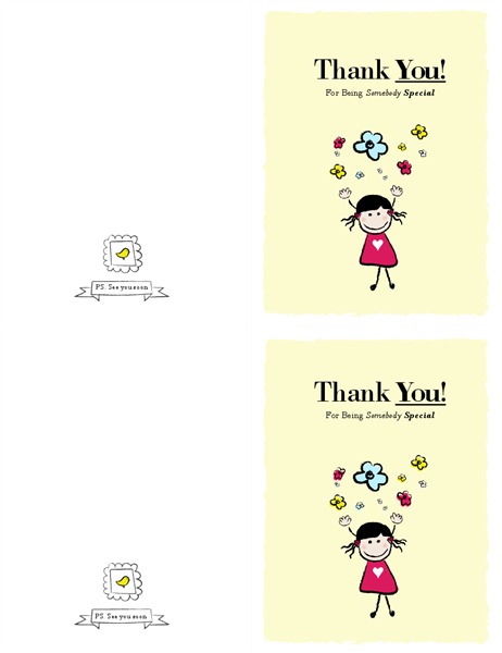 Little girl thank you card