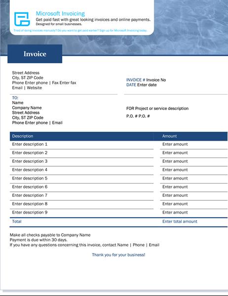 Service invoice with Microsoft Invoicing