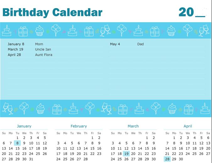 Birthday calendar with highlighting