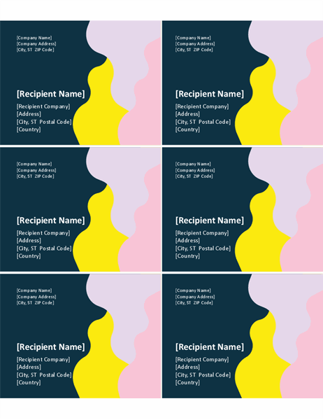 Organic shapes labels (6 per page)