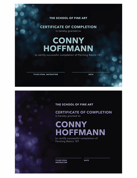 Bokeh certificate of completion