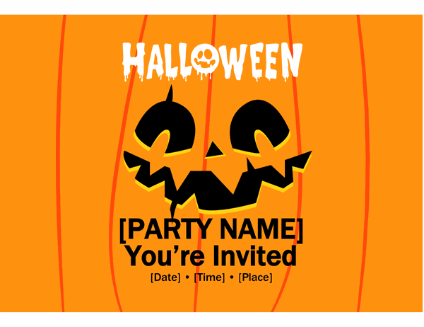 Jack-o'-lantern Halloween party invite