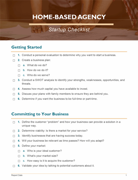 Home business startup checklist