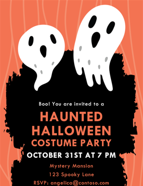 Ghostly Halloween party invite