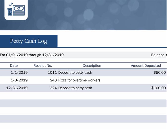 Small business petty cash log