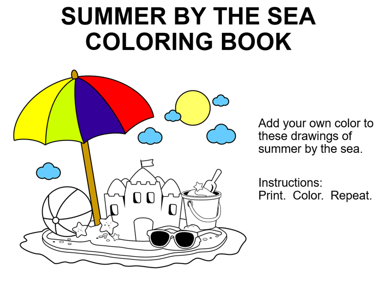 Summer by the sea coloring book