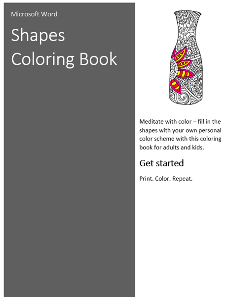Shapes coloring book