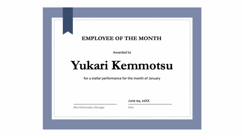 Certificate for employee of the month