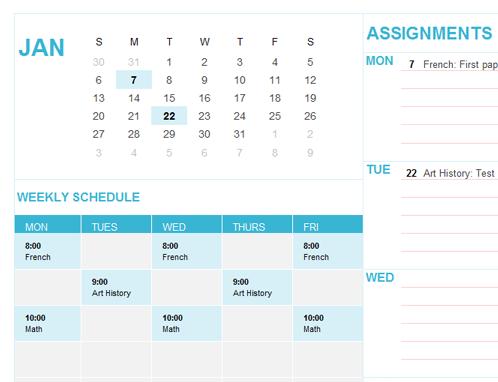 Student calendar (Sun)