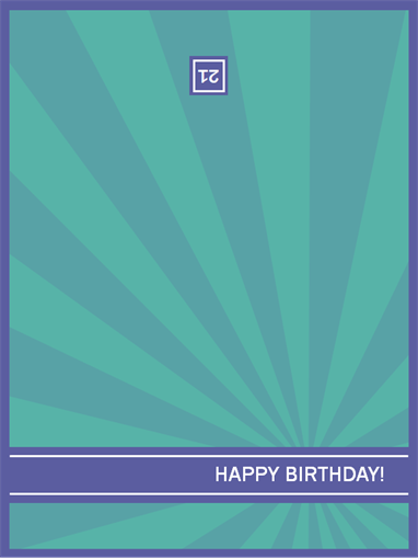 Milestone birthday card (blue rays)