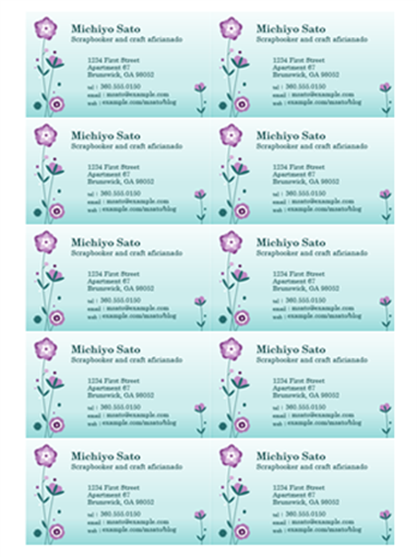 Business cards (flower illustration, 10 per page)