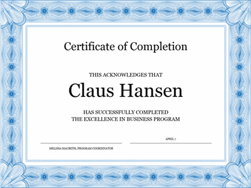 Certificate of completion (blue)