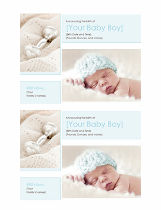 Baby boy birth announcement (two per page)