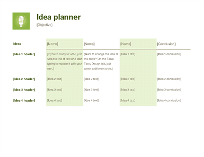 Idea project planner