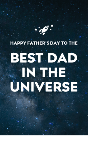 Outer space Father's Day cards