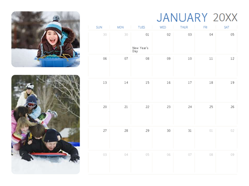 All-year photo calendar (Sun-Sat)
