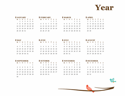 Birds yearly calendar (Mon-Sun)