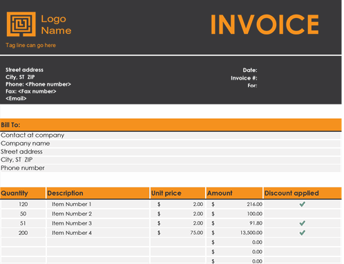 Small business sales invoice