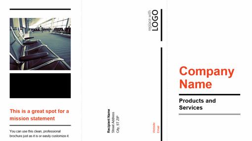 Tri-fold business brochure (black, red design)