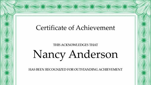 Certificate of achievement (green)