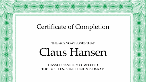 Certificate of completion (green)