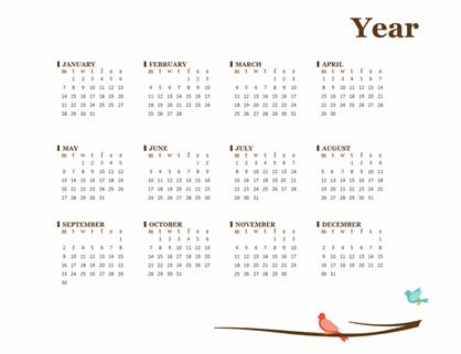 Birds on a branch yearly calendar (Sun-Sat)