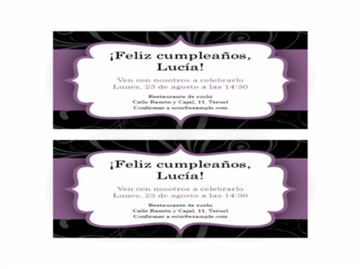 Invitación a una fiesta (diseño con franja púrpura)