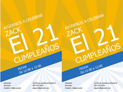Invitaciones de cumpleaños (rayos dorados)