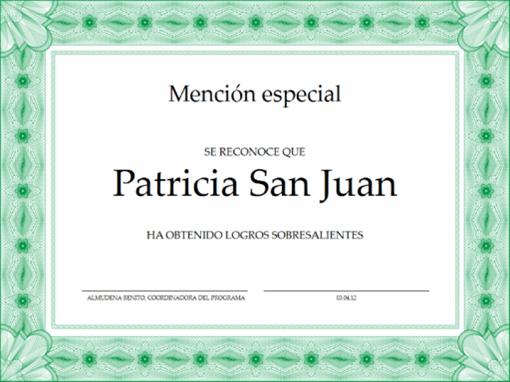 Certificado de mención especial (verde)