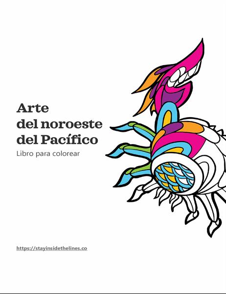 Libro para colorear de ilustraciones del noroeste del Pacífico
