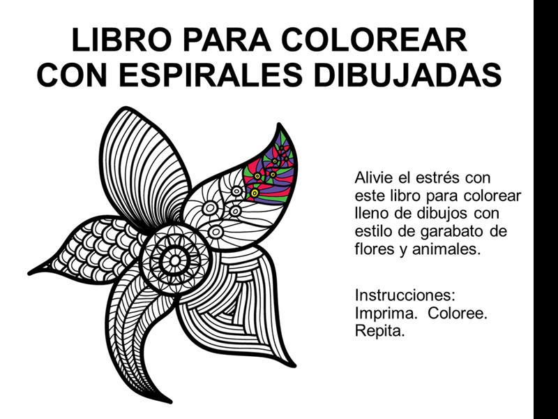 Libro para colorear con espirales dibujadas