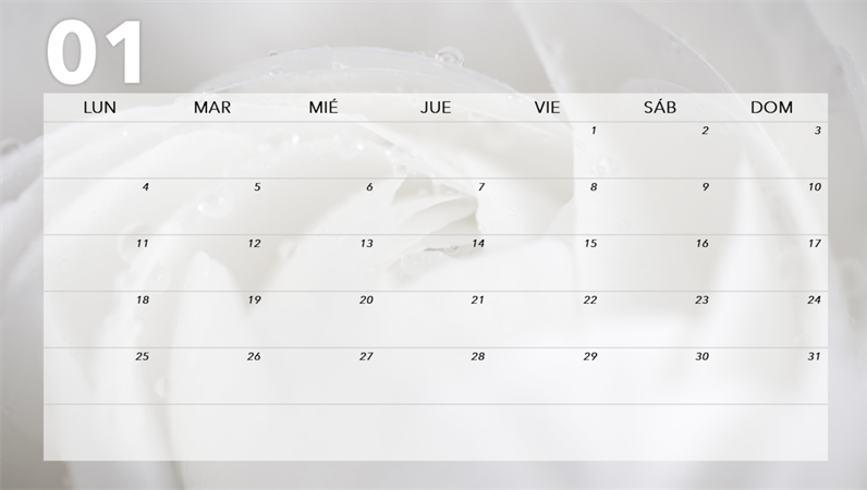 Calendario mensual floral