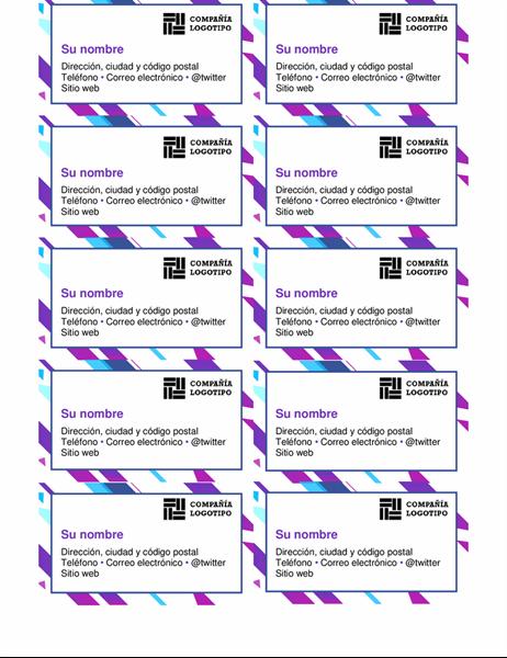Tarjetas de presentación con gráfico de color púrpura