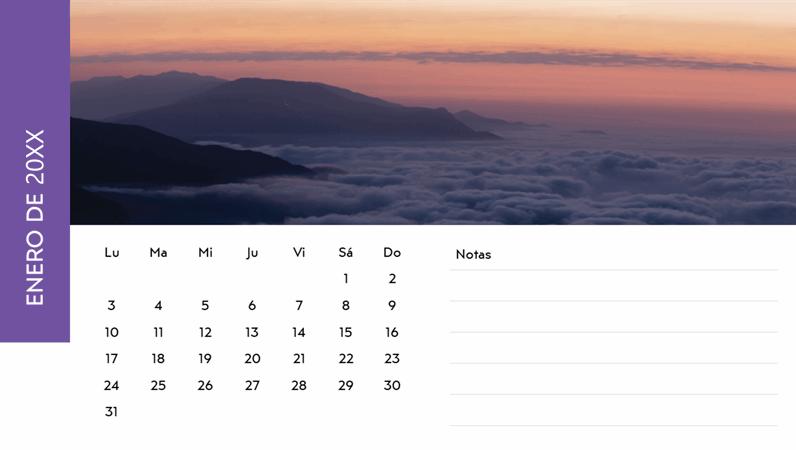 Calendario con fotos de paisajes