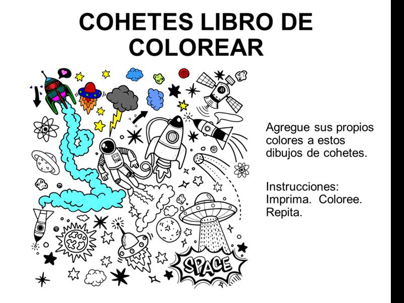 Libro de cohetes para colorear