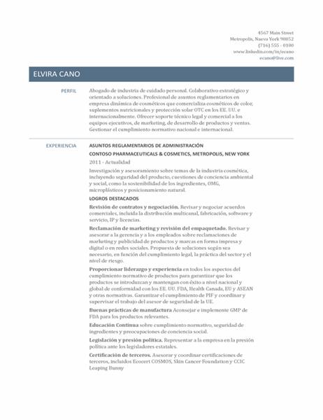 Currículum vítae de director de asuntos normativos