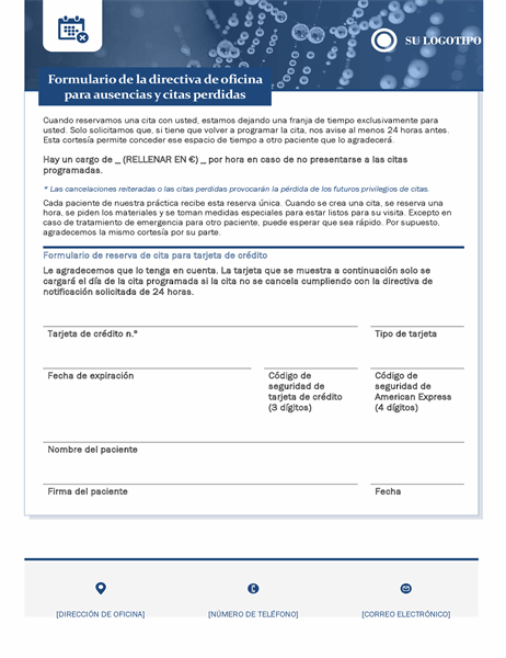 Formulario sanitario de cargo por no presentación