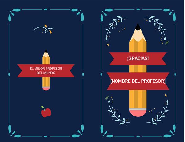 Tarjeta de agradecimiento a profesores