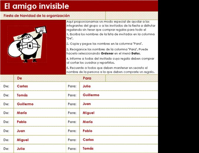Lista del amigo invisible