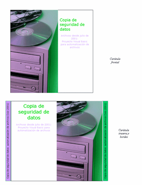 Carátulas de CD de copia de seguridad de datos